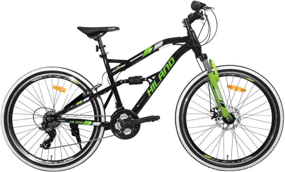 Hiland - Bicicleta de montaña de 26 pulgadas para hombre, 21 velocidades, bicicleta de montaña de 45,7 cm, doble suspensión, urbana, para ciudad, color negro y verde