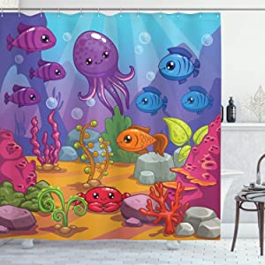 "Ambesonne Whale Shower Curtain, Underwater World Aquarium Cartoon Octopus Reef Seaweed Stones Bubbles Illustration, Cloth Fabric Bathroom Decor Set with Hooks, 84"" Long Extra, Purple Blue"