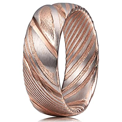 Buy Three Keys Jewelry 8mm Damascus Steel Mens Ring Domed Grooved Wood  Grain Bold Hand Forged Damascus Steel Band Engagement Ring Silver Rose Gold  Size 10 ... 4c3d691c8