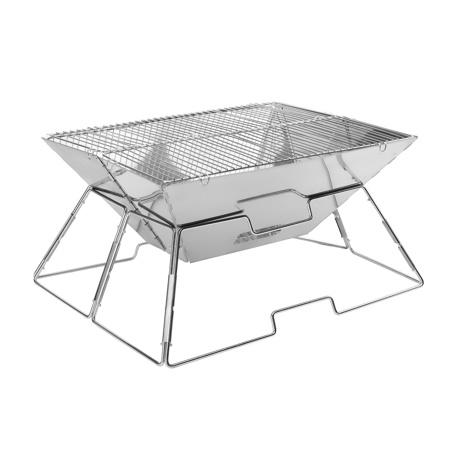 VANDER Life Foldable Folding BBQ Barbecue Flat Pack Portable Camping Outdoor Garden Grill/Quick Grill Medium: Original Folding Charcoal BBQ Grill Made from Stainless Steel
