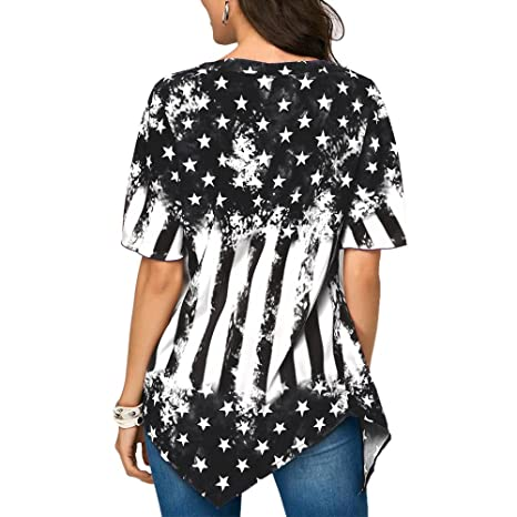 Amazon.com: Londony Womens Summer Lace Up Star and Stripe Print Short Sleeve Tops Asymmetrical Hem Casual Blouse (Blue❤ , M): Toys & Games