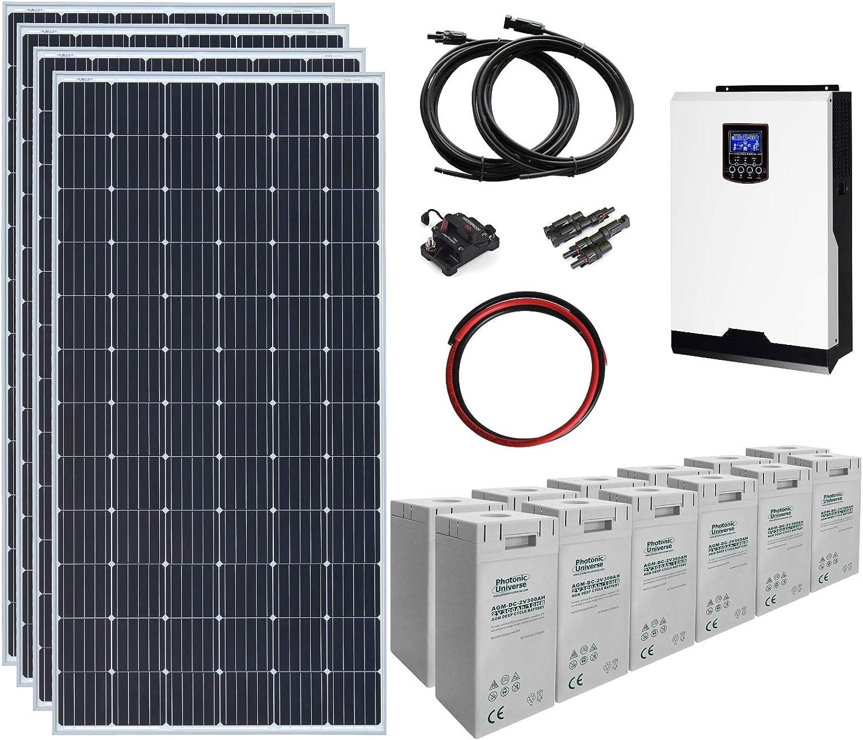 Sistema de energía Solar de 1,4 kW 24 V con 4 Paneles solares de 360 W, inversor híbrido de 3 kW y Banco de batería de 7,2 kWh