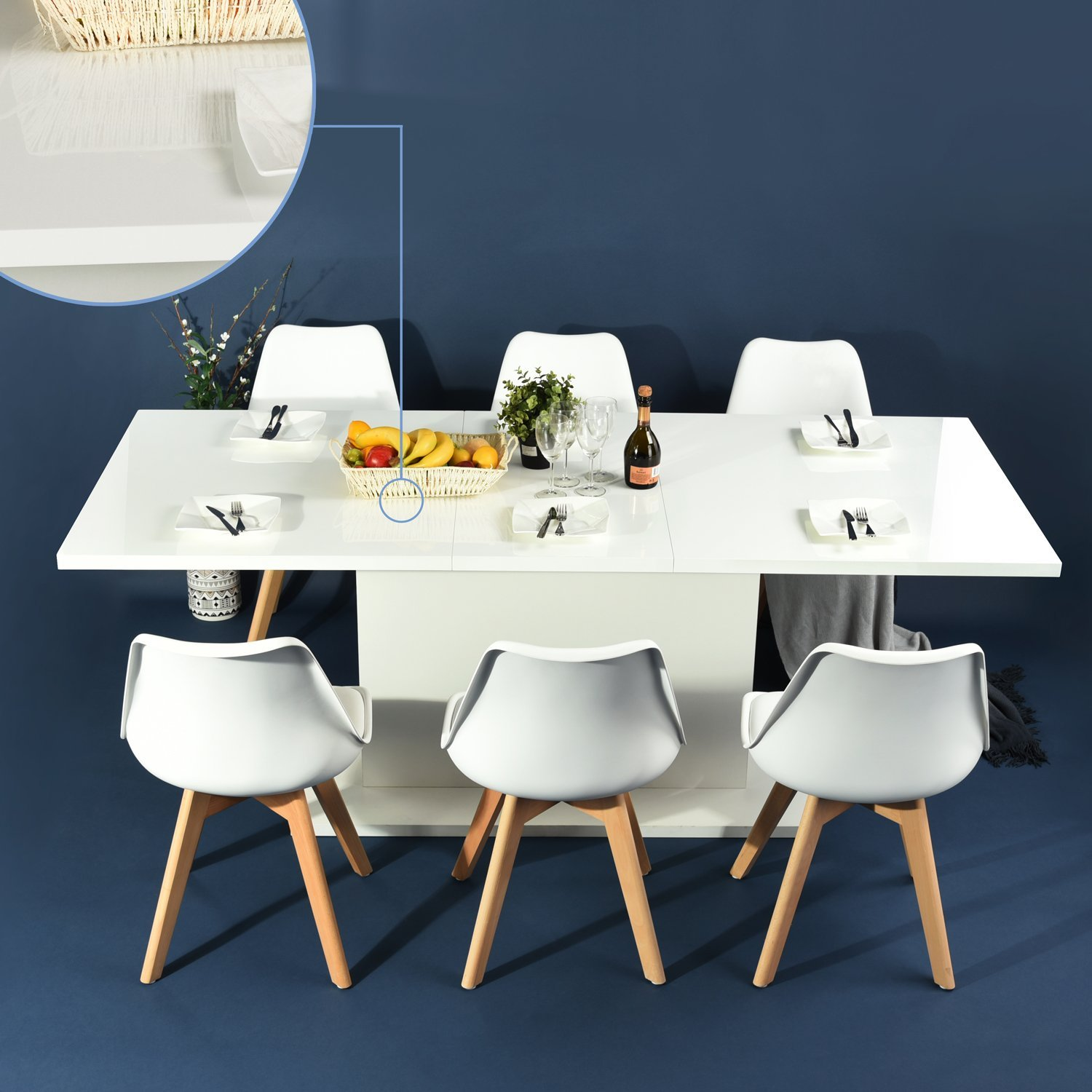 HOMY CASA High Gloss White Extendable Rectangular Dining Table, Mltifunction Space Saving Wood Table (High Gloss White Top)