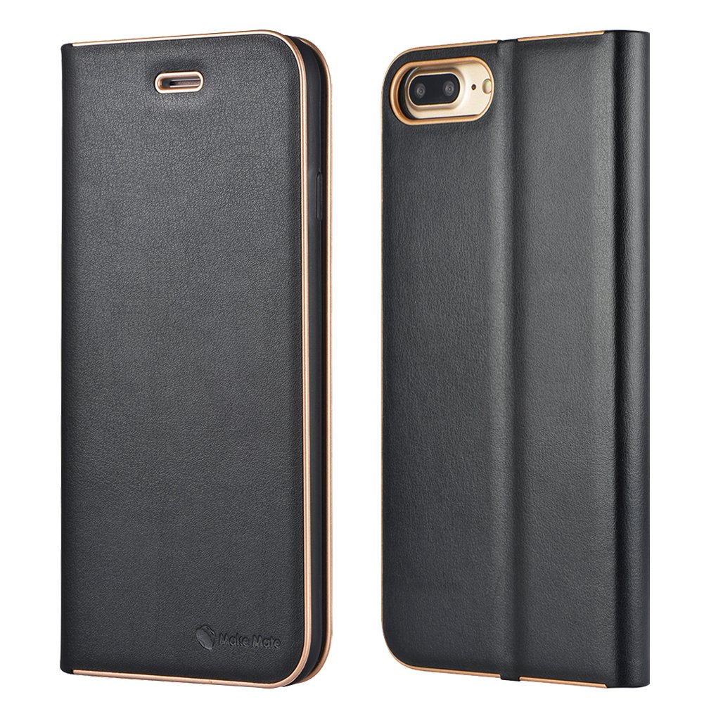 iPhone 7 Plus Case ,iPhone 8 Plus Case,Microfiber Leather Case for iPhone 7Plus/8Plus iPhone7/8 Plus Wallet Case Business Style Apple 7/8 Plus Phone Cover By Make mate (Black for iPhone7Plus)