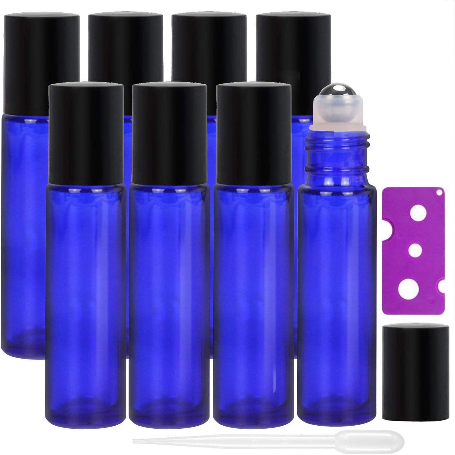 Alledomain, 8 botellas de 10 ml de aceites esenciales, botellas de vidrio recargables de color azul cobalto con bolas de acero inoxidable, incluye 12 etiquetas, 1 cuentagotas y abridor