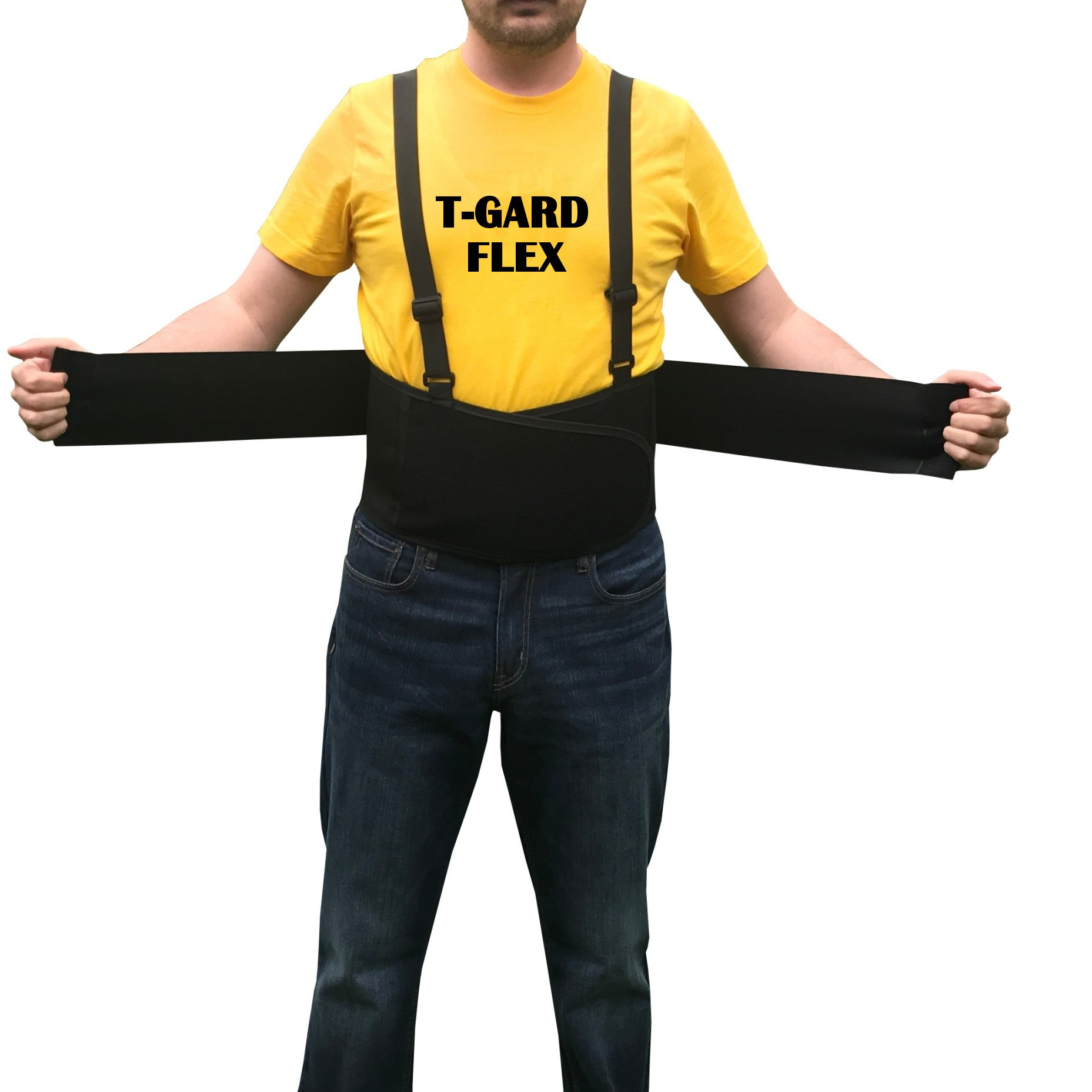 T-GARD FLEX Elastic Back Support Belt With Suspenders, Back Brace, Lower Back Support Belt For Men and Women (Available in Small,Medium,L, 2X, 3X) Extra Wide With Proper Back Support, Black (2X-Large)