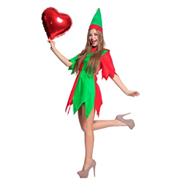 741545fc2ef MABOOBIE Costume de Deguisement Sexy Robe Tunique Cintree Elfe Noel pour  Femme Fille avec Bonnet