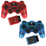 ZedLabz wireless RF double shock vibration gamepad controller for Sony Playstation 2 PS2 & PS1 - Twin pack - Red & Blue