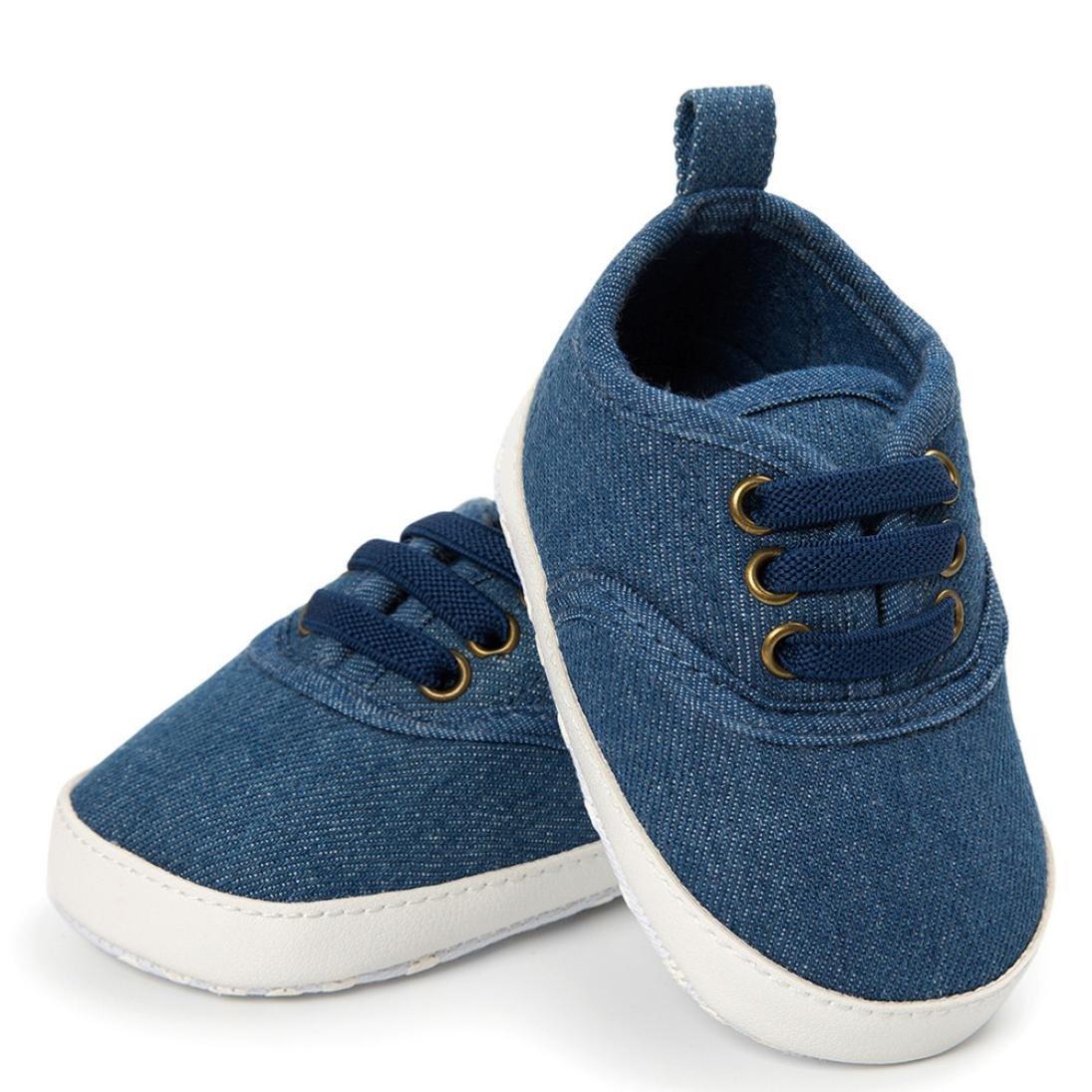 Iuhan Leisure Baby Girl Boys Frenulum Canvas Sneaker Soft Sole Crib Anti-slip Shoes