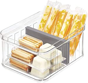 "iDesign Crisp Plastic Refrigerator and Pantry Divided Bin, Modular Stacking Food Storage Box for Freezer, Fridge, Office, Cabinet, Bathroom, BPA Free, 8.32"" x 6.32"" x 3.76"", Clear and Gray"