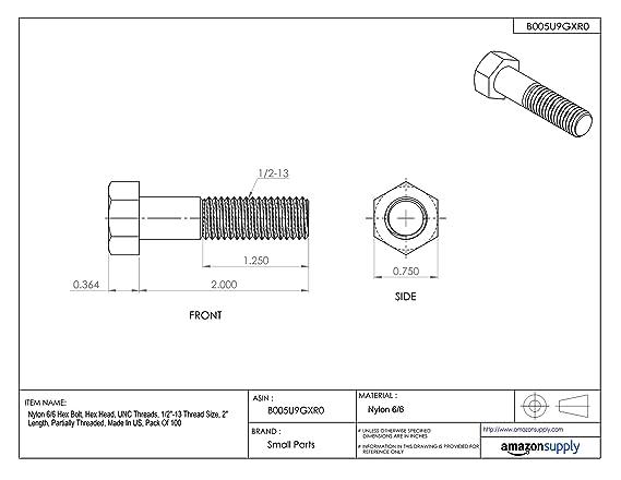 Nylon 6//6 Set Screw Meets ASTM D4066//ASTM D6779 Slotted Drive Pack of 100 Plain Finish #8-32 Threads 7//16 Length Off-White