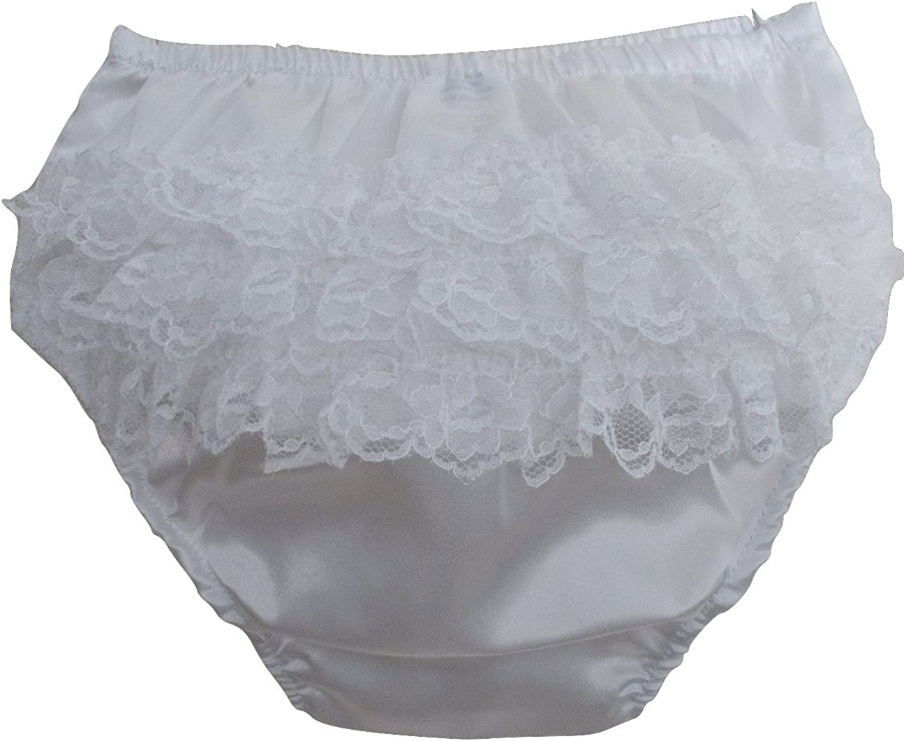 Soft Touch Baby Girls Satin Effect Frilly Knickers//Infants Satin Frilly Pants//Lace Trimmed