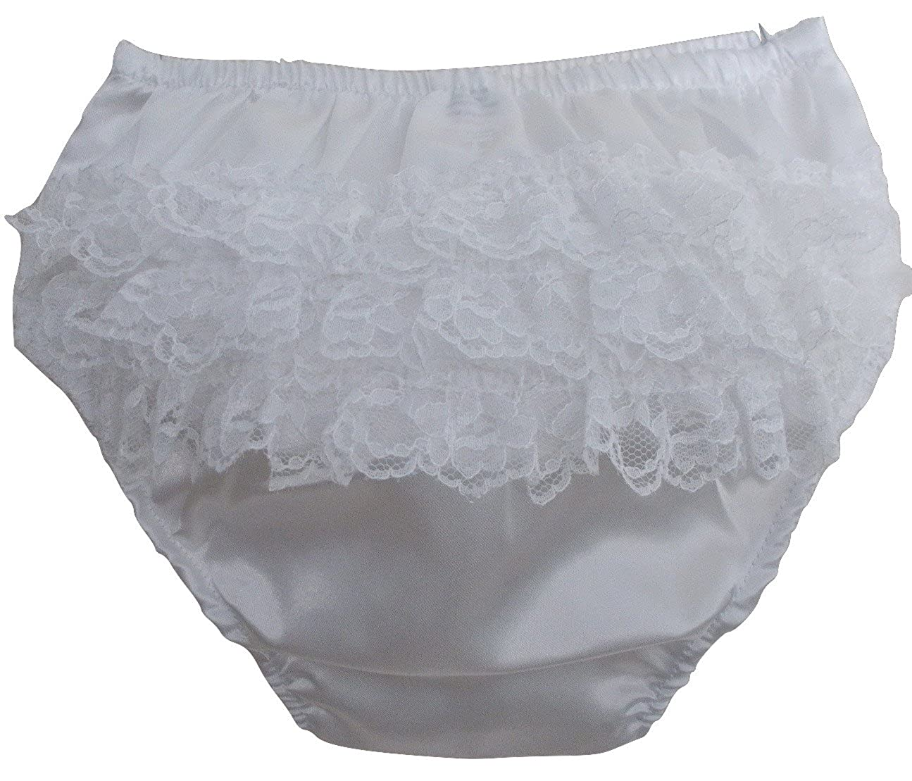 Baby Girls Ivory Satin Frill Back Knickers, Infant Girls Nappy Cover Pants, (0-6 Months) IVORY Soft Touch