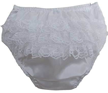 90c73aaff90d63 Baby Girls Ivory Satin Frill Back Knickers, Infant Girls Nappy Cover Pants,  (0