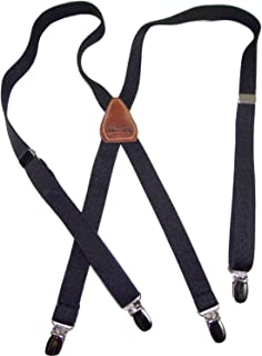 """product image for Holdup Brand Urban Youth 3/4"""" Wide thin Black Suspenders in X-back with No-slip Clips (Black)"""
