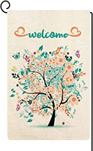 ORTIGIA Welcome Colorful Flowers Tree Garden Flag with Butterflies Vertical Double Sided Home Decorative,Seasonal Yard House Burlap Flag for Spring Summer Outdoor Indoor Decoration 12.5 x 18 Inch