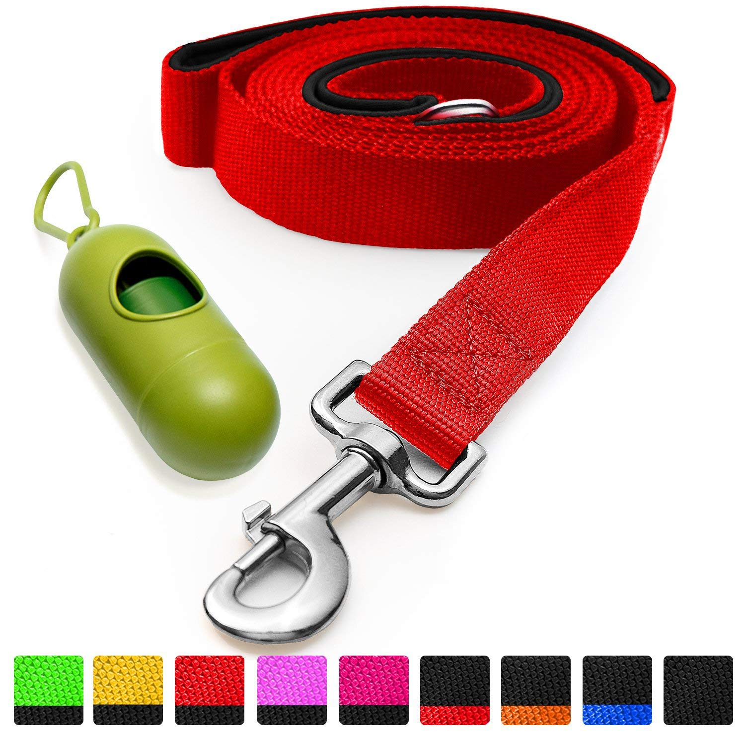 Red Black [Strong] Dog Leash with Bonus Free Waste Bag Dispenser Thick Padded Dual Handles, Includes Poop Bags & 100% Nylon (6ft. Long) Comfortable Grip Ideal for Large, Medium and Small Dogs