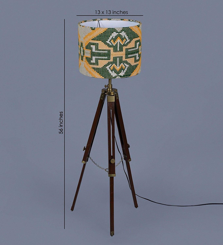 Lámpara de pie de trípode náutico vintage de madera rústica ...