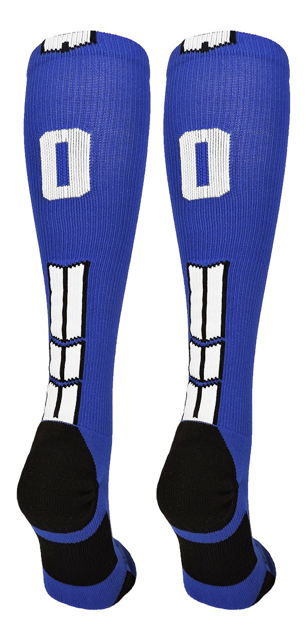 Pair MadSportsStuff Royal//White Player Id Custom Over The Calf Number Socks