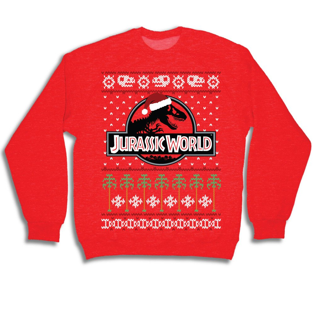 JURASSIC WORLD T Rex Logo Adult Red Ugly Christmas Sweatshirt