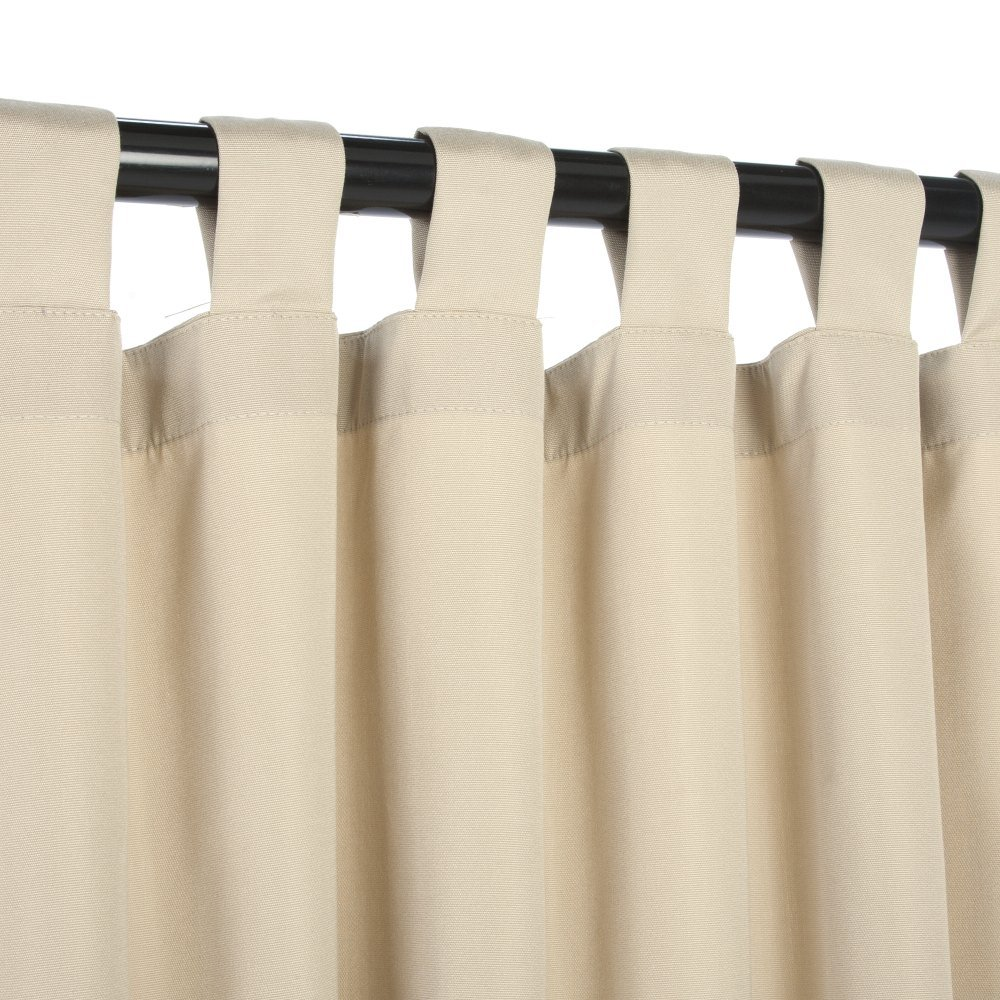 Essentials by DFO Antique Beige Sunbrella outdoor curtain with tabs 120 long by Essentials by DFO