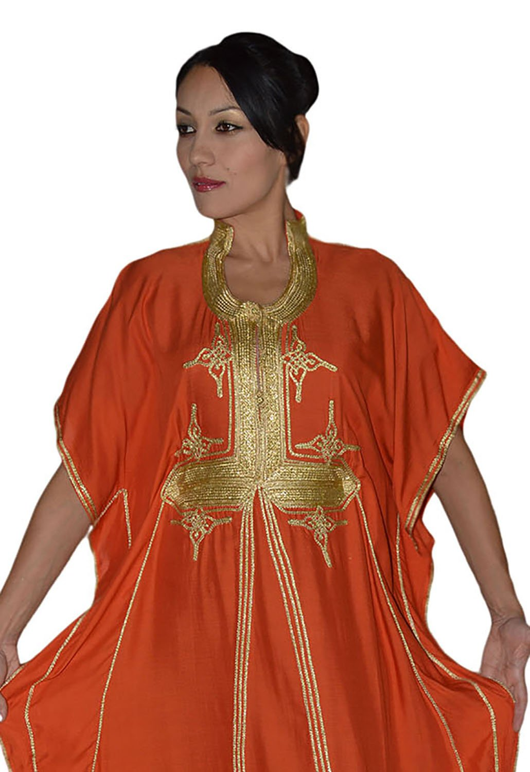 Moroccan Caftan Hand Made Breathable Cotton with Gold Hand Embroidery Long Orange by Moroccan Caftans (Image #4)