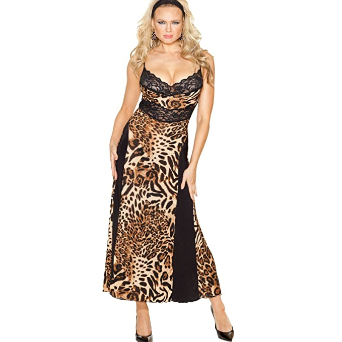 Amazon.com: Shirley of Hollywood Animal Knit Long Gown 3244 Leopard ...