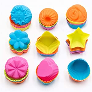 To encounter Silicone Cupcake Baking Cups 36 Pack Non Stick Cake Molds Sets 9 Shapes Silicone Muffin Pan for Baking BPA Free Silicone Muffin Liners …