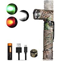 NICRON zaklamp LED USB oplaadbaar, wit rood licht groen licht, 950 lumen extreem helder, draaibare kop, IP65 waterdicht…
