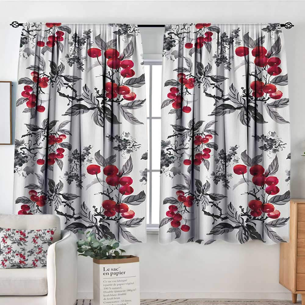 color01 42 W x 45 L Elliot Dgoldthy Decor Room Darkening Wide Curtains Rowan,Cute Kids Themed Cartoon Style Birds on Branches Funny Happy Christmas Design,Red Black White,Insulating Room Darkening Blackout Drapes 42 x54