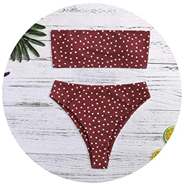 Amazon.com: Dot Print Tube up Two Pieces Bikini Push-Up Swimsuit Swimwear Beachwear No Shoulder Strap Hight Waist Swimsuit: Clothing