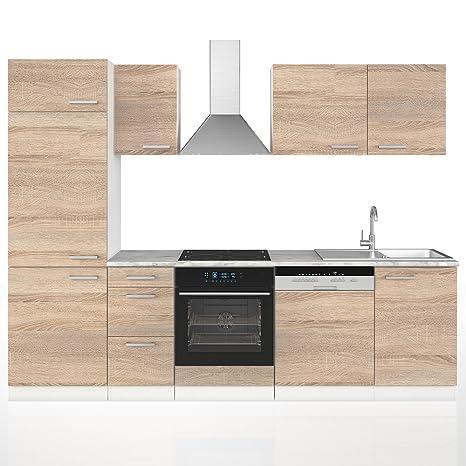 Vicco Küche 270 cm Küchenzeile Küchenblock Einbauküche Komplettküche – Frei Kombinierbar (Sonoma Eiche)