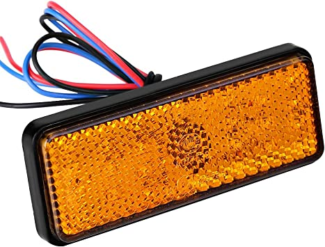 Keenso 12V Tail Brake Stop Lamp Light Rectangle for Scooters ATVs Moped Bicycles Tricycles Red Universal 24LED Turn Signal Light