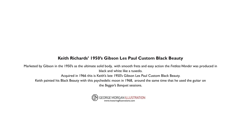 Keith Richards/' Gibson Les Paul Custom Black Beauty Grußkarte Dl Größe