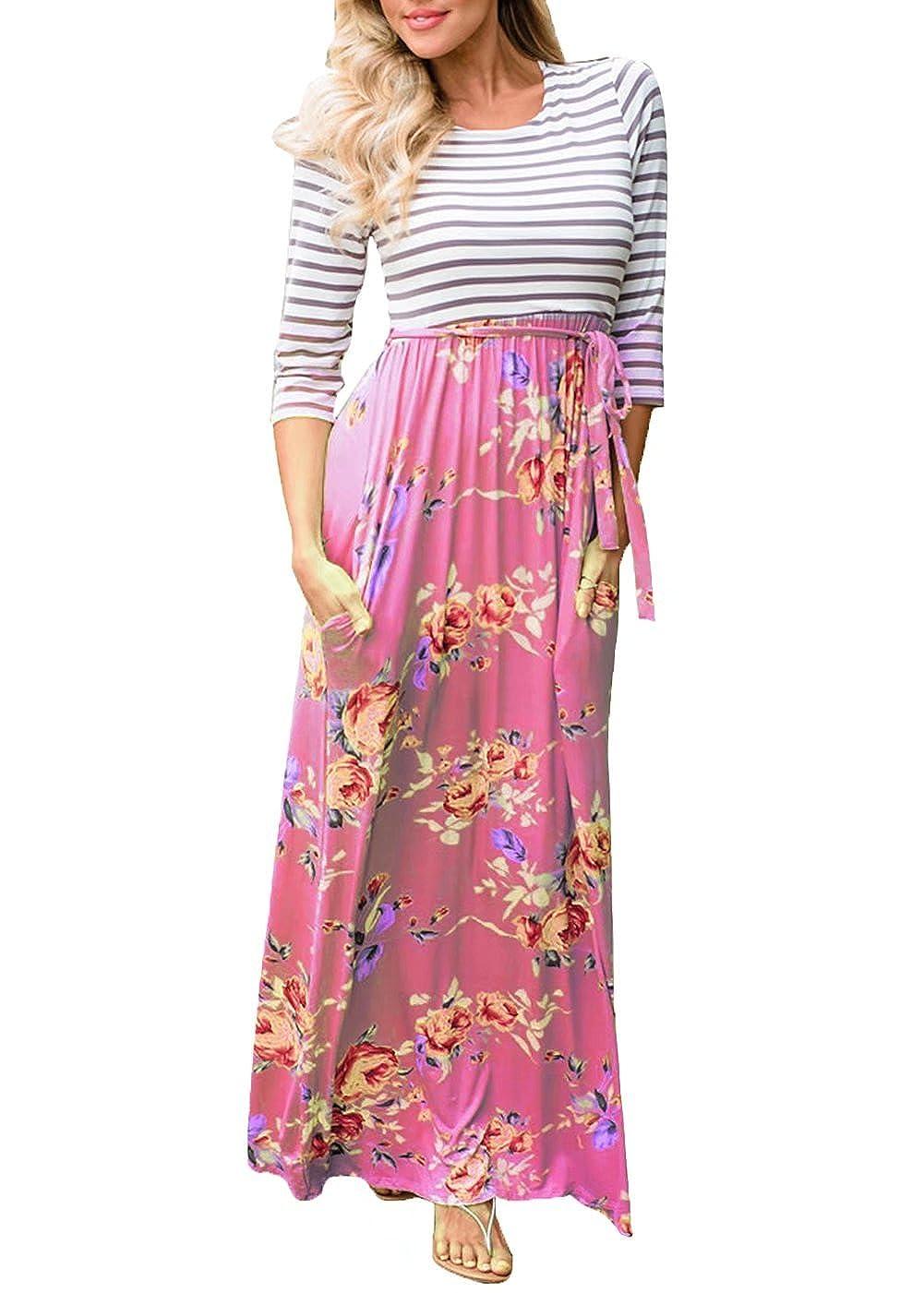 Pink FOUNDO Women's 3 4 Sleeve Striped Tops Pockets Floral Boho Long Maxi Dress