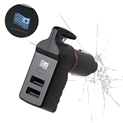 Ztylus Special Design Stinger USB Emergency Escape Tool: Life-Saving Rescue Car Charger, Spring Loaded Window Breaker Punch, Seat Belt Cutter, Dual 2.4A USB Ports (Blue American Flag): Automotive