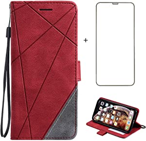 Compatible with iPhone XR Wallet Case and Tempered Glass Screen Protector Leather Flip Cover Credit Card Holder Cell Phone Cases for iPhoneXR iPhone10R i Phonex 10XR 10R 10 R RX CR iPhoneXRcases Red