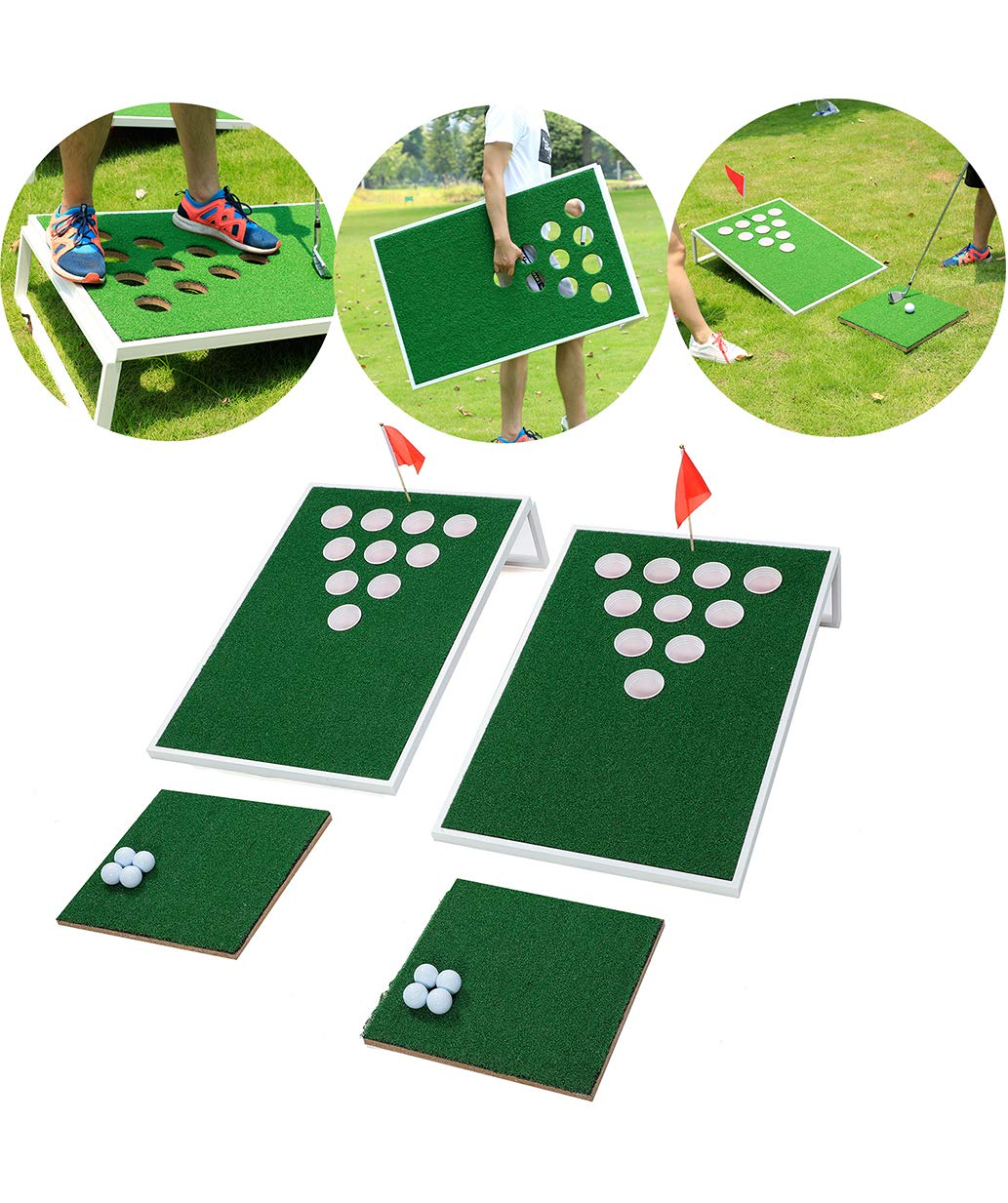 SPRAWL Beer Pong Cornhole Golf Chipping - 2 Tragets 2 Chipping Mats 8 Golf Balls - Beach Golf Backyard Practice Games Golf Hole by SPRAWL