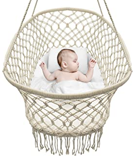 Sorbus Baby Crib Cradle, Hanging Bassinet And Portable Swing For Baby  Nursery, Macramé Rope