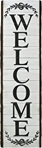 NIKKY HOME Large Vertical Welcome Word Sign for Porch Front Door Entryway Rustic Wooden Plaque Wall Hanging Decor, 46.5 x 12.5 Inch