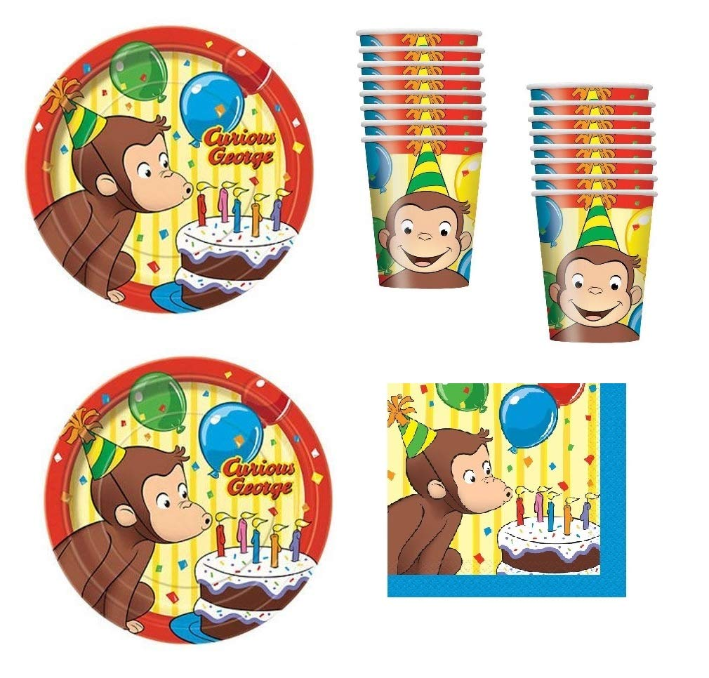 echa un vistazo a los más baratos Curious George Birthday Party Supplies Set Plates Napkins Napkins Napkins Cups Kit for 16 by Unique  precioso
