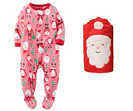 carters baby girls fleece footed pajamas with blanket christmas set 24  months pink santa 3f1d926cc