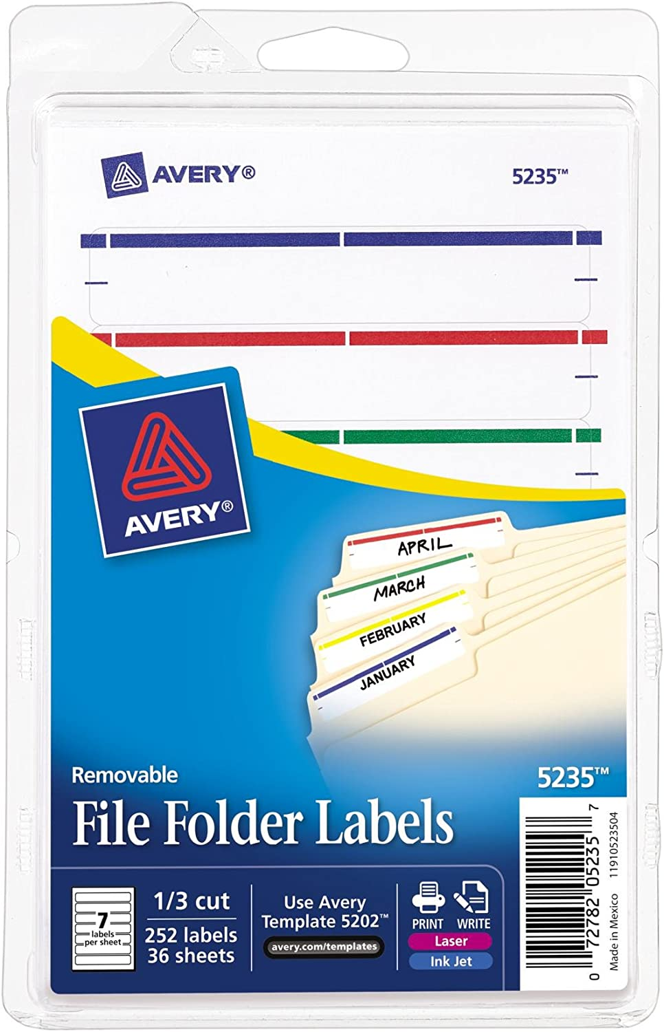Avery Removable File Folder Labels, Assorted, 1/3 Cut, Pack of 252 (5235) : Colored File Folders : Office Products