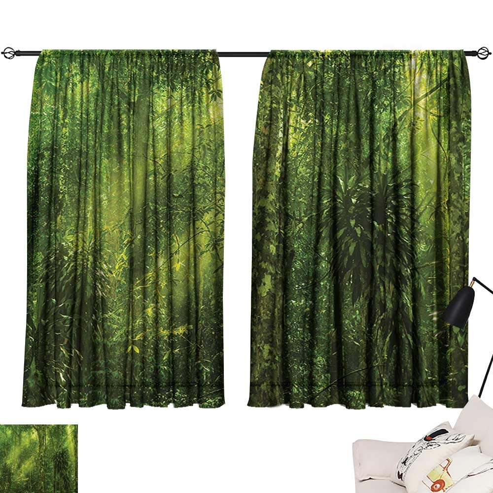 Davishouse Rainforest Thermal Insulated Drapes for Kitchen/Bedroom Sun Beaming into Tropical Forest Adventure Hiking Environment Remote Dense Greenery Noise Reducing
