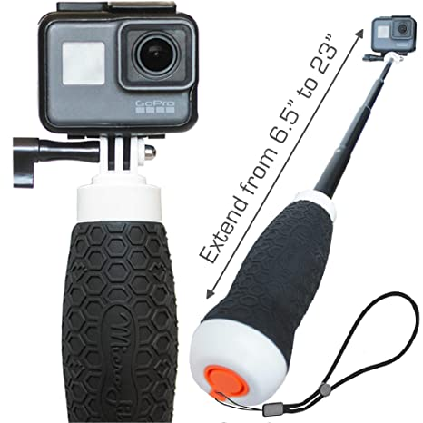 Waterproof Extendable Hand Grip + Floating GoPro Pole 6 5-23