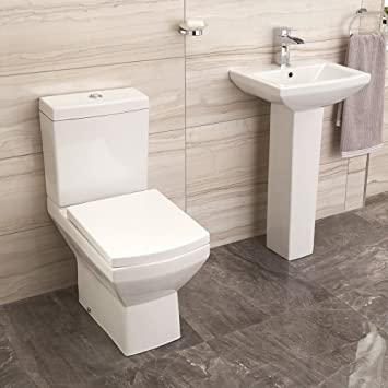 Toilet Basin Sink Set Bathroom Suite White Ceramic