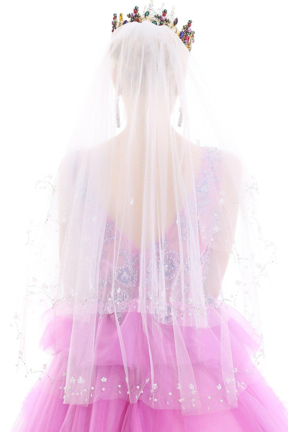 Pop-Fashion Women's 2T 2 Tie Ivory Birdcage Veil Bridal Fascinator Bridal Veil Ivory Elbow Crystals 117 (White)