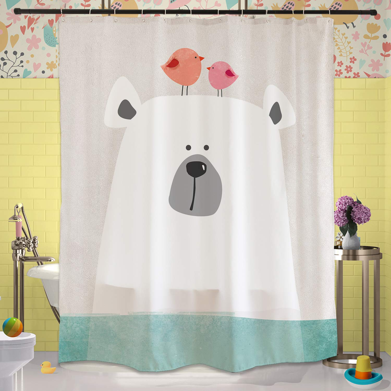 CDM product Cartoon Polar Bear in Water Shower Curtain Set with Hooks 180x180cm, Pink Birds Green Aqua Ocean, Waterproof Mildew Resistant Fabric Accessories Kids Children Bathroom Decor small thumbnail image