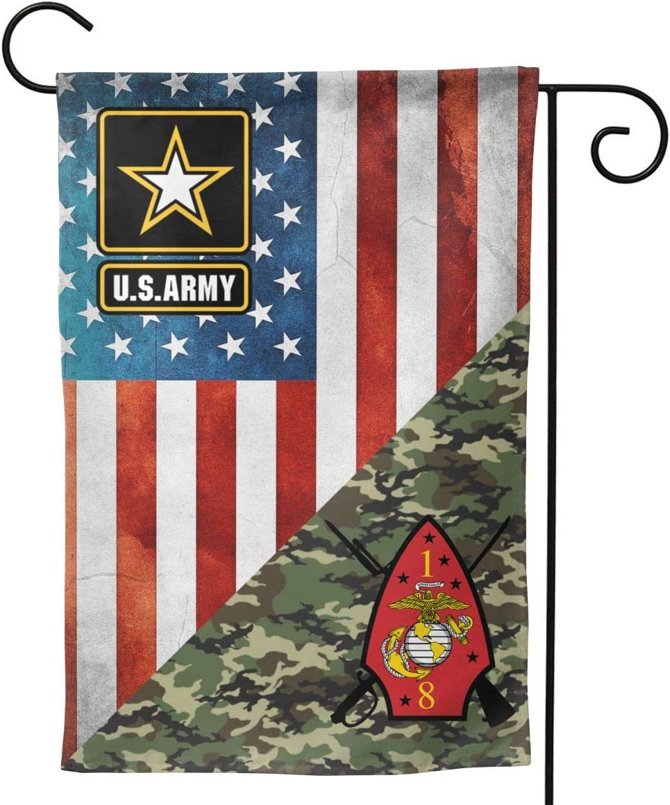 "1st Battalion 8th Marines Garden Flag Welcome Banner for Patio Lawn Party Yard Home Outdoor Decor, On Both Sides, 12.5""x18"" / 28""x40"""