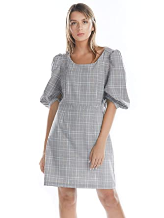 aa6c58b1a4 BARGOOS Women Casual Gingham Shift Dress 3/4 Puff Sleeve Lace Up Back High  Waist